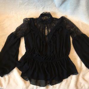 Long Sleeve lace and chiffon Express top